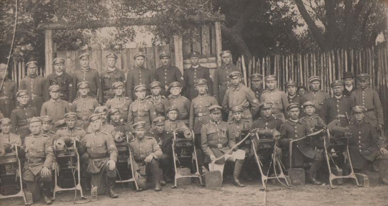 Кулеметна рота Війська Польського, озброєна у німецькі кулемети М.1908 з російськими ящиками для набоїв.