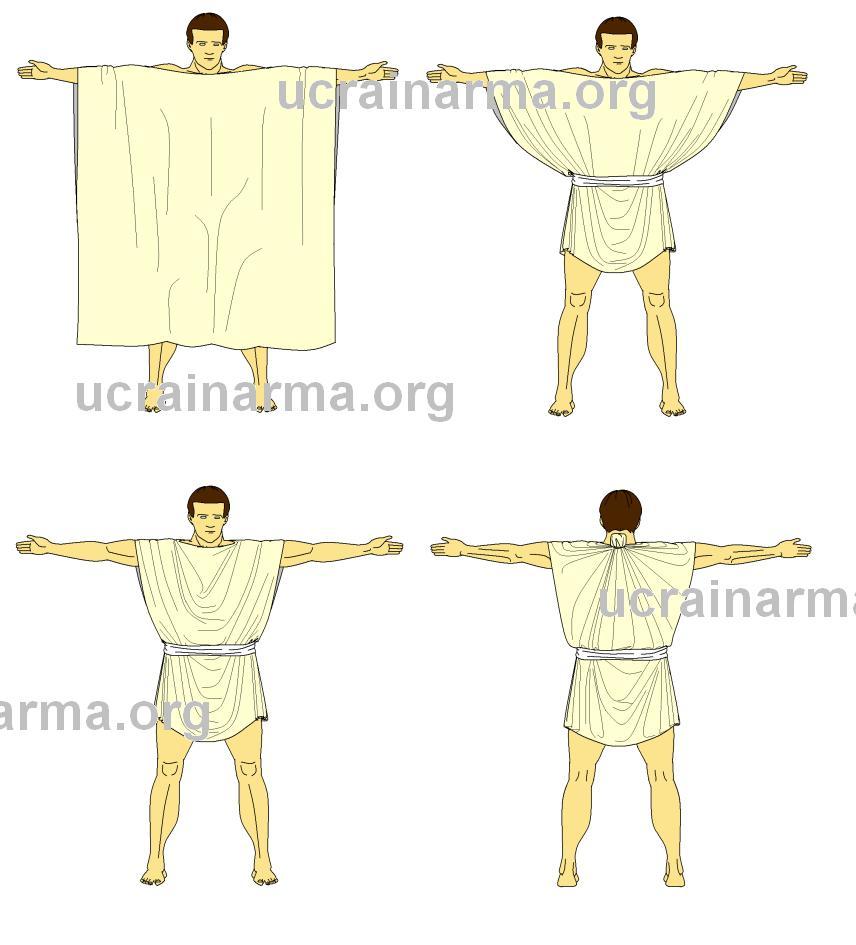 Схема та способи носіння римської туніки © UcraInArma 2012