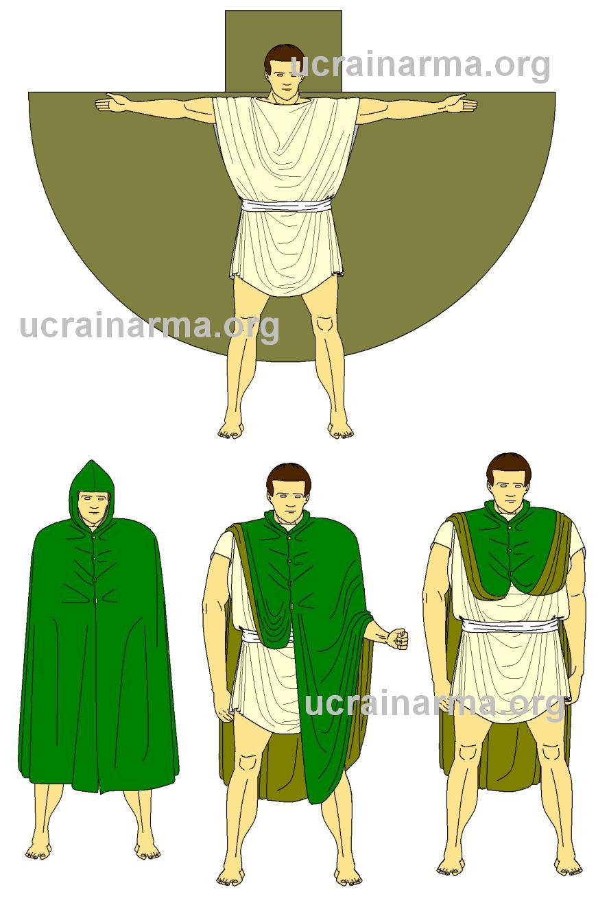 Схема та способи носіння пенули © UcraInArma 2012