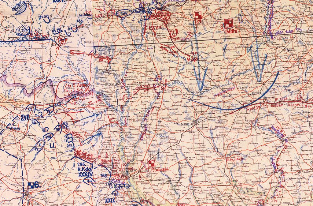 Фрагмент мапи німецького Генштабу 22.08.41