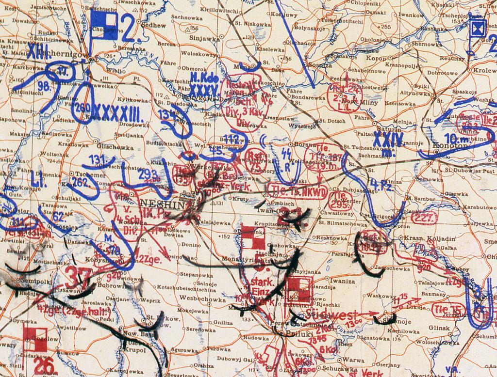 Фрагмент мапи німецького Генштабу 12.09.41