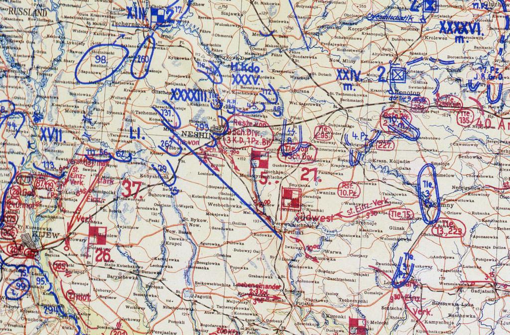 Фрагмент мапи німецького Генштабу 13.09.41
