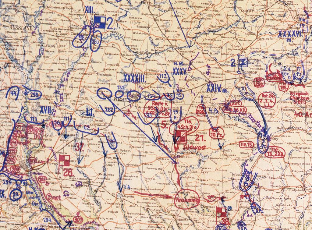 Фрагмент мапи німецького Генштабу 14.09.41