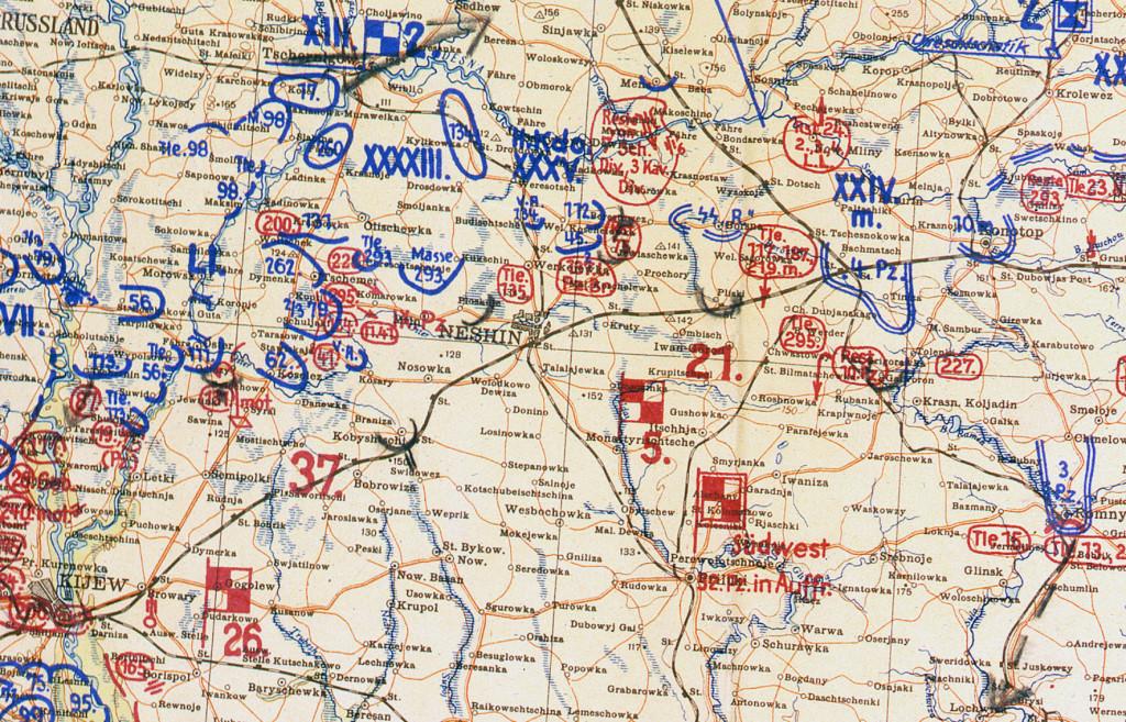 Фрагмент мапи німецького Генштабу 11.09.41