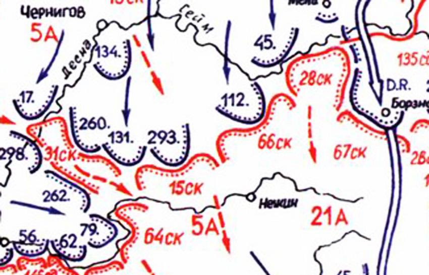 Положення військ на вечір 11.09.41. Фрагмент схеми сайту «RKKA in World War II»