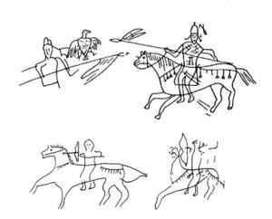 Графіті з зображенням болгарських вершників. Великий Преслав, Болгарія.