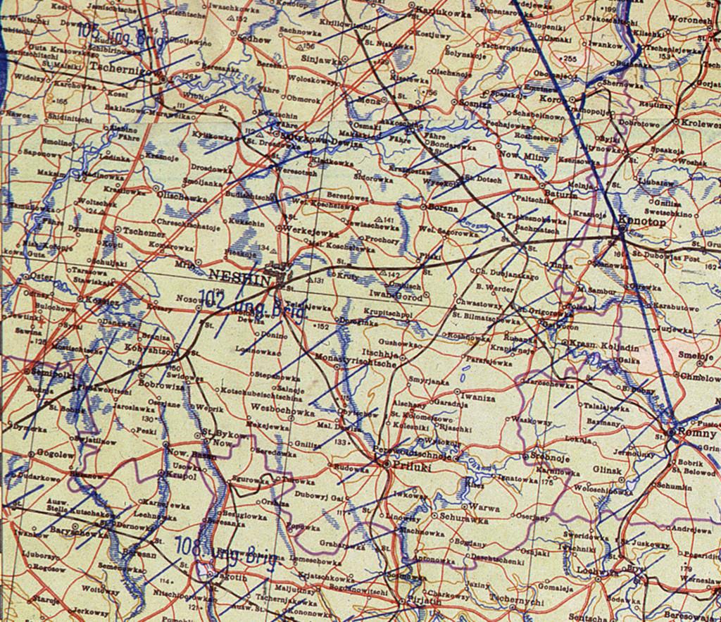 Фрагмент мапи німецького Генштабу на 1 січня 1942 року.