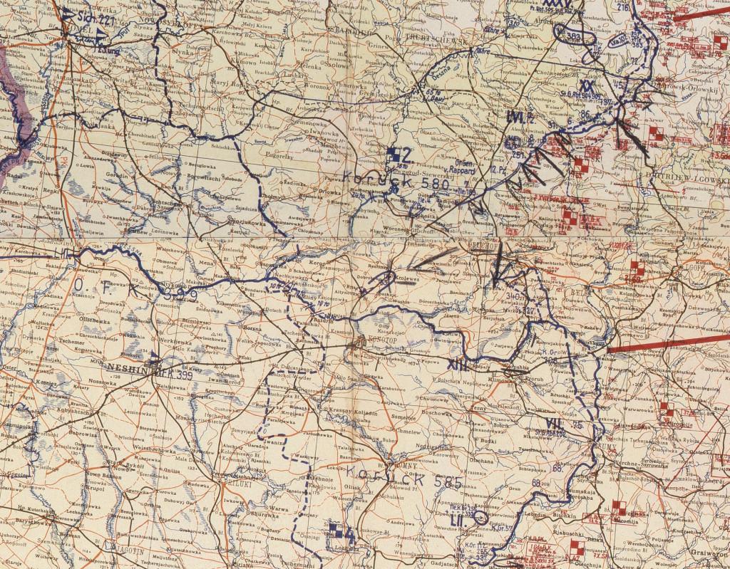 Фрагмент мапи німецького Генштабу 31.08.1943.