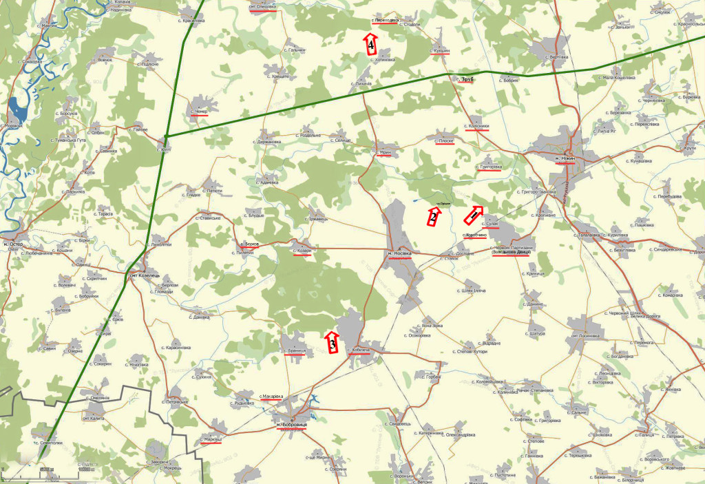 Сучасна мапа району дій партизанів.   1- Ліси біля с. Сулак . 2- Ліси біля Носівки, 3  - Кобищанський ліс.   4- Переходівський ліс.  (Мапа Luxena.com)