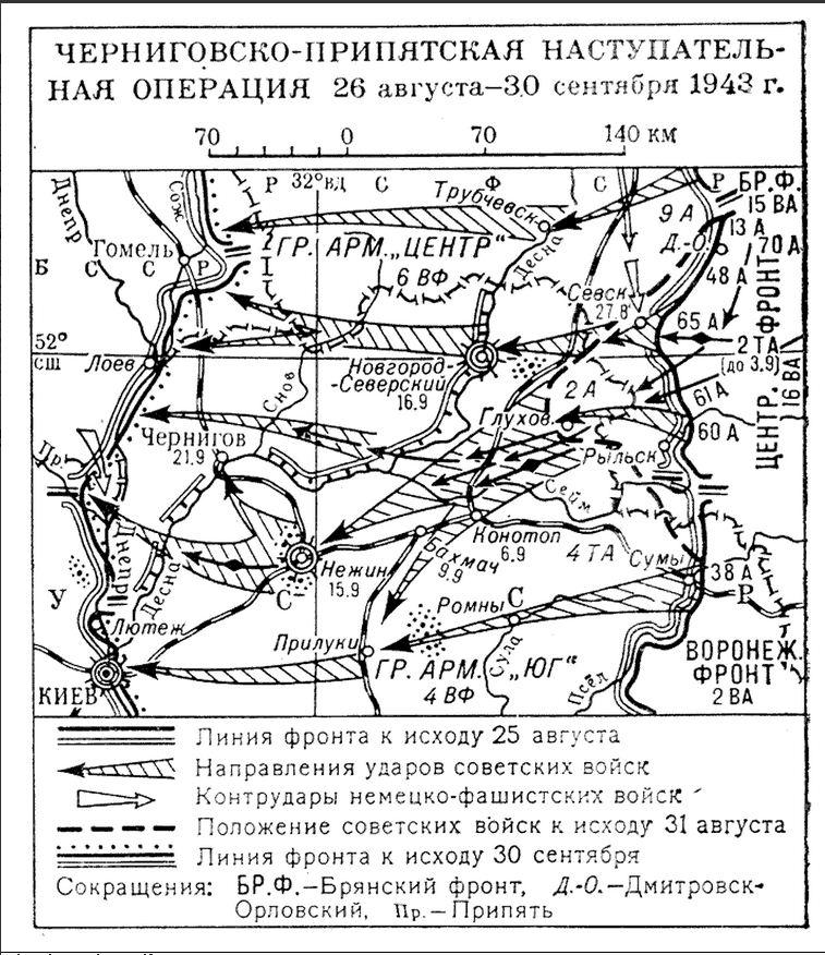 Схема Чернігівсько-Прип'ятської наступальної операції.