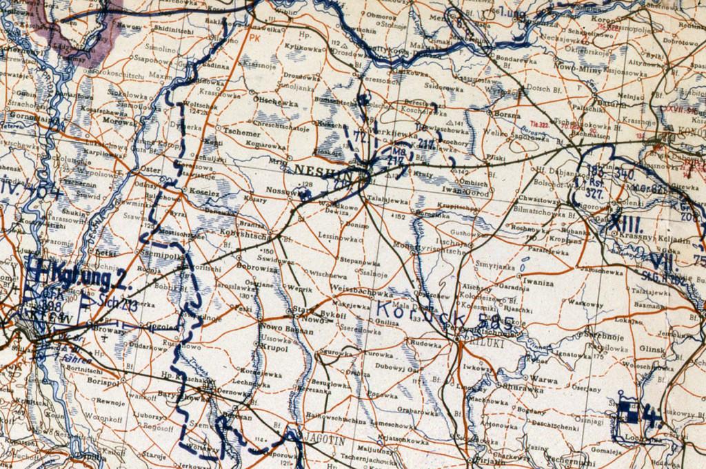 Фрагмент мапи німецького Генштабу. 9 вересня 1943 .