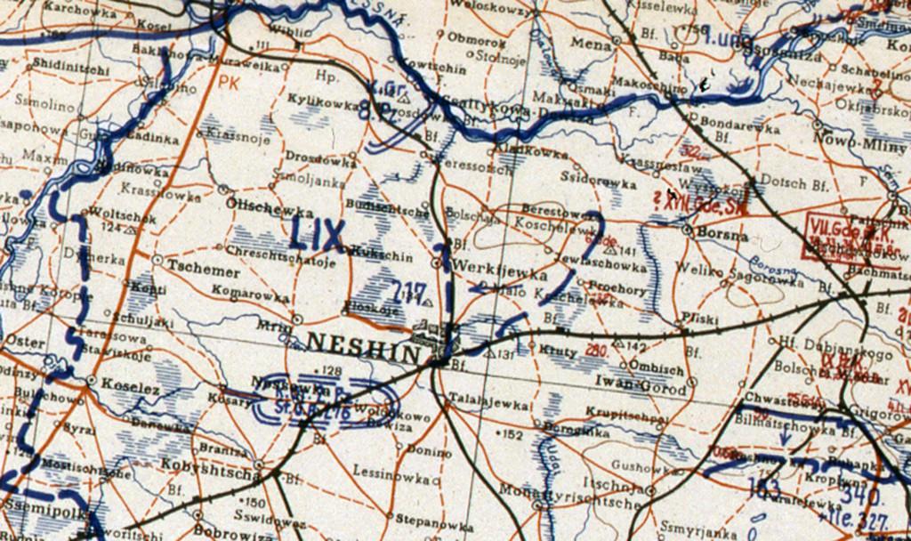 Фрагмент мапи німецького Генштабу. 14 вересня 1943.