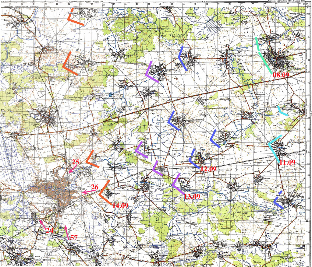 Хід наступальної операції на ніжинському напрямку 8-15 вересня 1943.