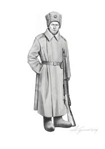 Вояк Галицької армії, січень–березень 1919 р. Одягнутий в російську папаху, шинелю та валянки. На шапці – кокарда з матерії, з припасованою відзнакою «Соборна Україна», яка широко використовувалася в якості кокарди. Озброєний піхотною гвинтівкою системи Мосіна