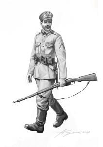 Вояк Галицької армії в приписаному «Розпорядом»  однострої, весна–осінь 1919 р. На комірі петлиці – «зубчатки», на рукаві нашивка «відзнака боєвика» у вигляді складеної кутом догори синьо-жовтої стрічки