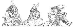 Скіфські воїни. Промальовка зображення на посуді з Куль-Оби