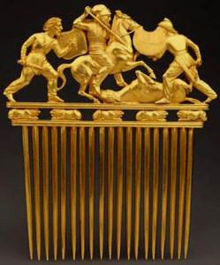 Скіфські воїни на золотому гребені з кургану Солоха.