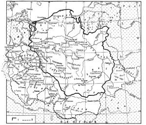 Польща наприкінці Х – у першій третині ХІ ст.: 1 – кордони держави Мєшка; 2 – завоювання Болеслава І Хороброго.
