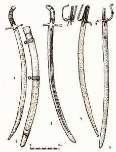 Рис. 26. Шаблі і палаш з переправи [2]: 1-2, 3 – ординка; 4 – швейцарська шабля; 5 – гусарський палаш