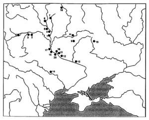 Мапа пам'яток зарубинецької культури зі знахідками предметів озброєння