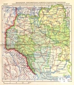 Мапа України і Бессарабії з радянського атласу 1939 р.