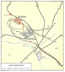Схема битви під Обертином 1531 р. (за Nowak T. M. Dawne Wojsko Polskie. Od Piastów do Jagiellonów. – Warszawa: Bellona, 2006)