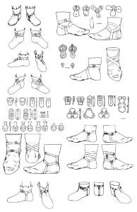 Деталі взуття та варіанти реконструкції взуття кочовиків VI–VII ст.  (Комар 2010)